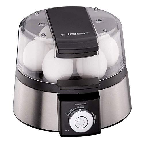 Cloer Elektronischer Eierkocher für bis zu 7 Eier, Weiterkochfunktion, akustische Fertigmeldung, 3 Pochierschalen, 435 W, Edelstahl
