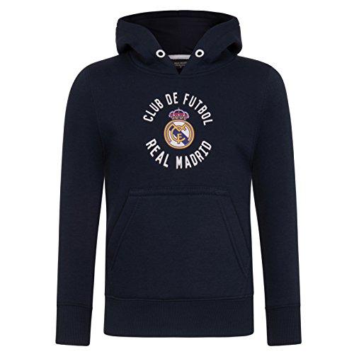 Real Madrid - Sudadera oficial con capucha - Para niño - Con el escudo del club - Forro polar - 10 años