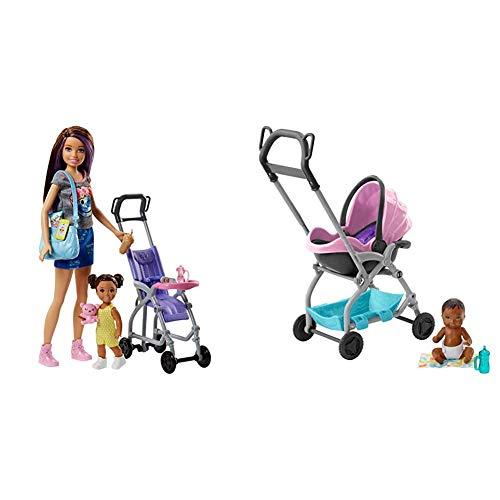Barbie - Muñeca Skipper Hermana de Barbie, niñera de Paseo - (Mattel FJB00) + Skipper - Cochecito con muñeco de bebé y Accesorios (Mattel FXG95) , Color/Modelo Surtido