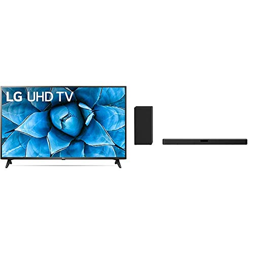 LG 65UN7300PUF Alexa Built-in 65' 4K Ultra HD Smart LED TV (2020) with LG SN5Y 2.1 ch 400W High Res Audio Sound Bar with DTS Virtual:X, Black