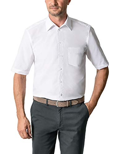 Walbusch Herren Hemd Bügelfrei Kragen ohne Knopf einfarbig Weiß 40 - Langarm