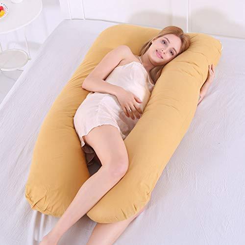 Almohada para el Embarazo, Almohada de Cuerpo Completo para Mujeres Embarazadas, Almohada de Maternidad en Forma de U con Cremallera Funda de Algodón Extraíble,Amarillo