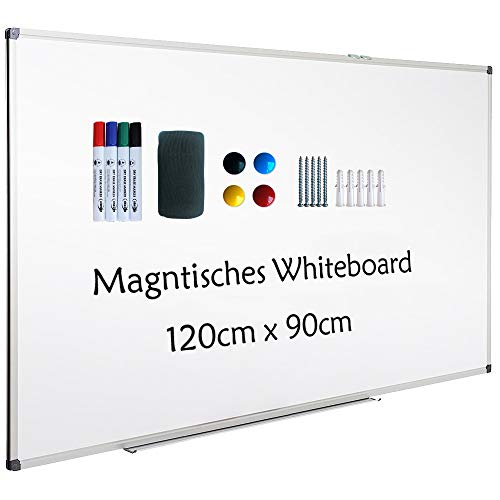 XIWODE Whiteboard mit Stiftablage, Pinnwand Tafel, Magnettafel, beschreibbar und magnetisch, mit kratzfeste Oberfläche, 120cm x 90cm