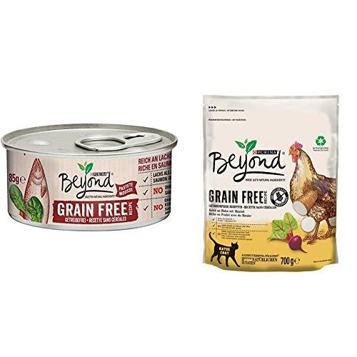 PURINA BEYOND Getreidefrei Katzenfutter Trocken- und Nassfutter Mix-Pack, Huhn mit Maniok und Lachs mit Spinat, (6 x 700g und 12 x 85g)