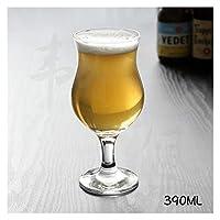 qun-qun クリエイティブガラスゴブレットチューリップビッグベリークラフトビール白ワイングラスドリンクジュースカップ家庭用透明性人格ワイングラス (Color : 390ML)