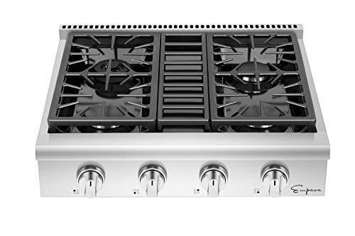 Empava 30 in. Slide-in Natural Gas Rangetop with 4 Deep Recessed Sealed Ultra High-Low Burners-Heavy Duty Continuous Grates in Stainless Steel, 30 Inch