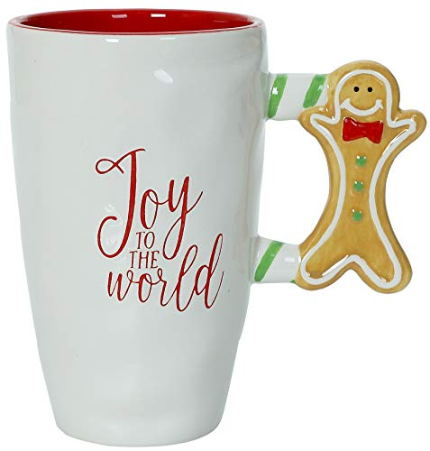 Joy To The World - Christmas Themed Ceramic Glossy 17 oz Mug With Large Gingerbread Man Handle (Microwave and Dishwasher Safe)