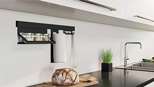Gedotec Küchenreling-Set Relingleiste Küche Hänge-Leiste Wand-Montage | Aluminium - Stahl schwarz matt | Reling-Stange Länge 600 mm | 1 Set - Design Küchenleiste Vintage inkl. Befestigungsmaterial