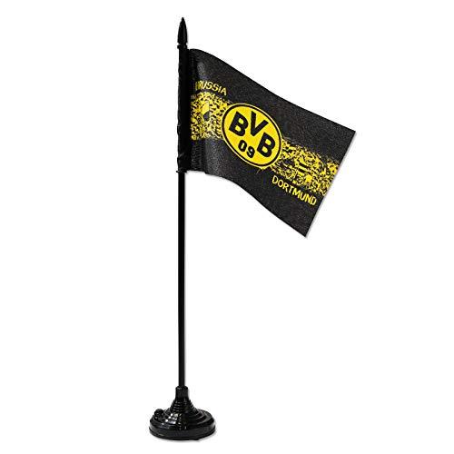 """Borussia Dortmund Soundfahne, Fahnenmast mit Sound, Kult-Hymne """"Heja Fahne in schwarz/gelb mit BVB Emblem, Höhe: 35 cm one Size, schwarzgelb"""