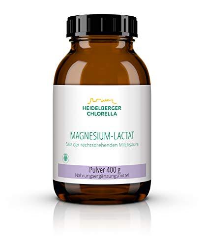 Heidelberger Chlorella – Magnesium-Lactat Pulver, Salz der Rechtsdrehenden Milchsäure, vegan und rein, gute Bioverfügbarkeit, hergestellt in Deutschland, 400 g
