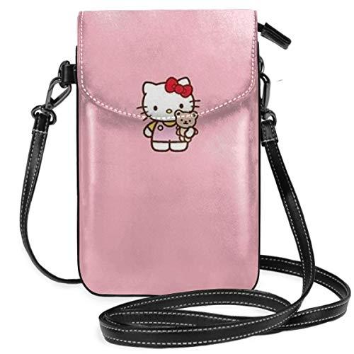 Petit sac à bandoulière pour téléphone portable Motif chaton avec jouets et emplacements pour cartes de crédit