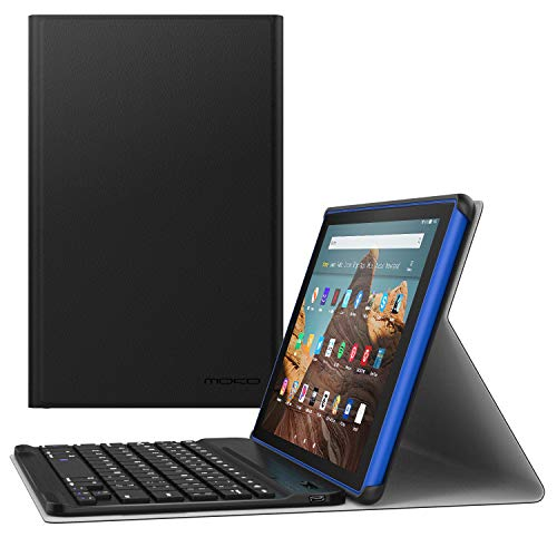 MoKo Tastatur Hülle für Das Neue Amazon Fire HD 10 Tablet (9. Gen 2019 und 7. Gen 2017 Model), Schutzhülle Abnehmbar Wireless Bluetooth Tastatur QWERTY Auto Schlaf/Wach für Fire HD 10, Schwarz