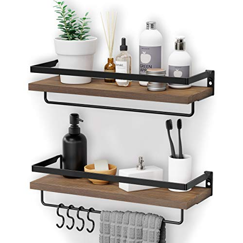Homemaxs Floating Shelves Wall Mounted,【2020 Newest】 Multifunctional Bathroom Shelf with 2 Towel Holders & 4 Extra Hooks - Set of 2 Decoration Shelves for Bathroom, Kitchen and Living Room