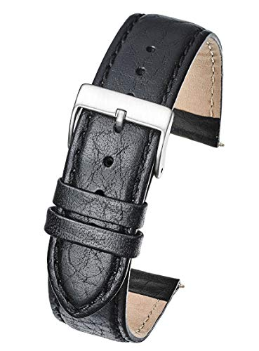 ALPINE Soft Stitched Semi Padded Genuine Leather Buffalo Grain Watch Band in Extra Long Length for WIDER WRISTS ONLY- Black - 22XL (fits wrist sizes 7 1/2 to 9 inch)