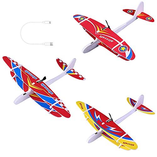 ZoneYan Avion Planeado, 3Pcs Planeador de Espuma, Aviones Planeadores para Niños, Planeador Eléctrico, Aviones de Corcho, Carga USB, Juguete para niños Regalo de niñas Juego