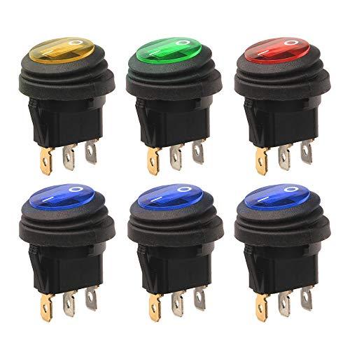 Gebildet 6 Piezas 12V-24V/20A Impermeable Interruptor Basculante Redondo LED, 3 Pin ON/Off SPST, Snap-In Latching Boton Interruptor para Coche Motocicleta Bote Marina (1×Rojo/Verde/Amarillo, 3×Azul)