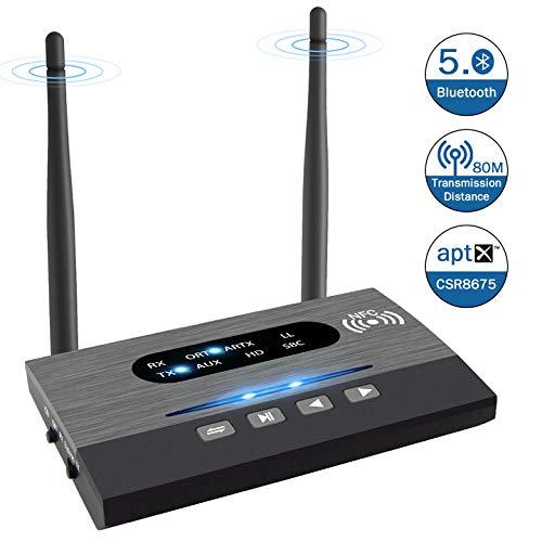 Bluetooth Adapter, Bluetooth Transmitter TV mit Dual Antenne 3 in 1, Unterstützt aptX HD und Niedrige Latenz, 80m Meter Fernübertragung, 2 Geräte gleichzeitig, für TV, Kopfhörer Laptop PC