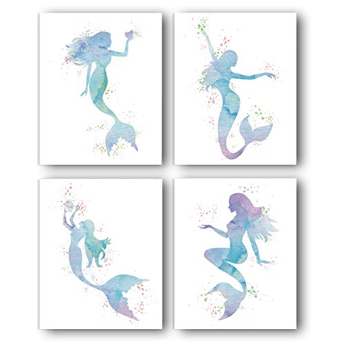 Graceful Movements Mermaid Watercolor Art Print,Legend of The Sea,Set of 4(12' x16') Unframed Canvas Print, Great Gift for Girls Bedroom Bathroom Home Decor