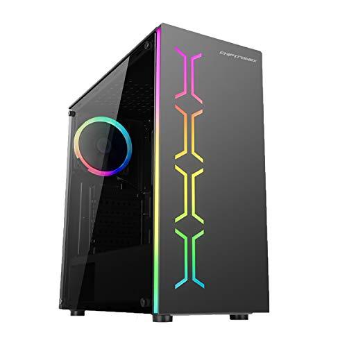 CHIPTRONEX MX2 RGB Mid Tower Cabinet USB 3.0 Tempered Glass RGB Fan Preinstalled