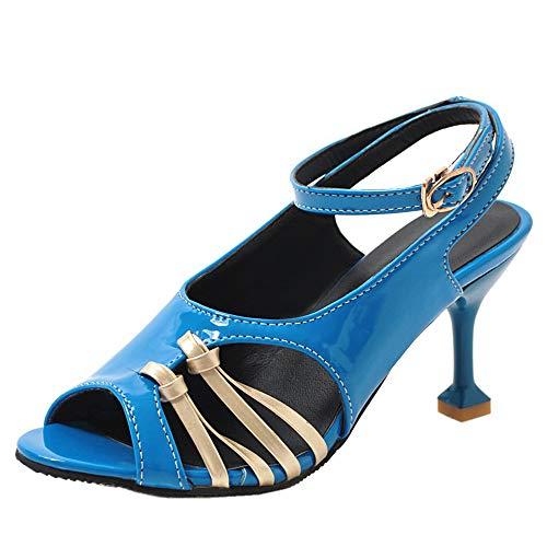 BeiaMina Femmes Mode Peep Toe Sandaleses Kitten Heel Fête Chaussures Cut Out Bureau Chaussures Blue Taille 41 Asiatique