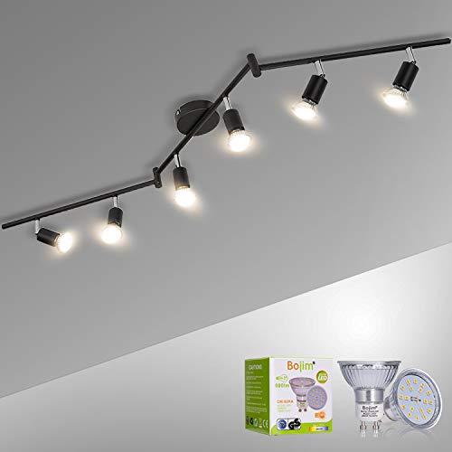 Bojim Deckenleuchte 6 drehbare und verstellbare LED-Spots, mattschwarz, LED-Deckenleuchte GU10 6W Warmweiß 2800K für Wohnzimmer Wohnküche, 220V-240V IP20, LED-Lampen enthalten