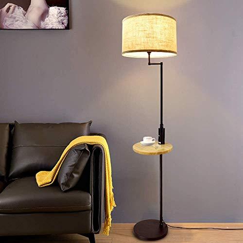 FLAUU Escritorio de la lámpara LED, LED Lámpara de pie Moderna Negro con Mesa de Madera, 3000K Blanco cálido, Protección de los Ojos lámpara de Escritorio con una función de Puerto USB, para la Sala
