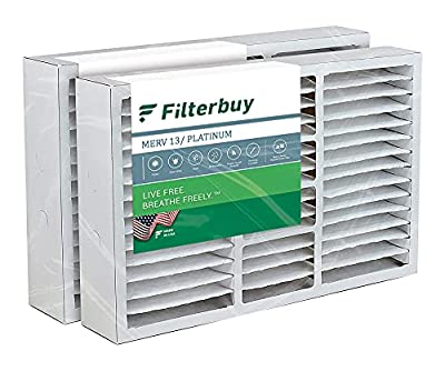 FilterBuy 16x25x5 Air Filter MERV 13, Pleated Replacement HVAC AC Furnace Filters for Honeywell, Air Kontrol, Bryant, Carrier, Day & Night, Lennox, and Payne (2-Pack, Platinum)
