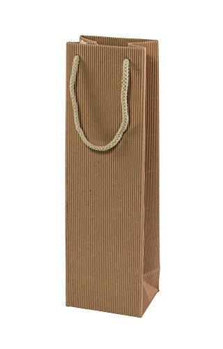 10 Stück im Set ! Wein 1er Flaschenbeutel - Edle, hochwertige Geschenkverpackung und Tragetasche für 1 Weinflasche in einfarbig Natur. Wellkarton mit Streifenprägung und stabiler Tragekordel