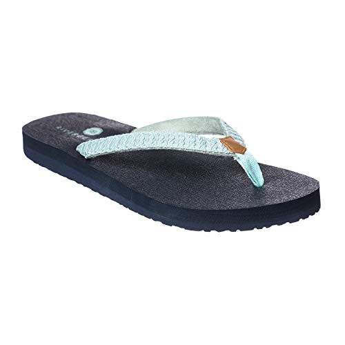 Riverberry Women's Aloha Flip Flop with Yoga Mat Padding, Turquoise, 8