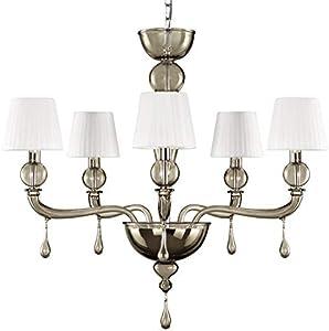 Lámpara de cristal de Murano colgante color gris claro pantallas blancas muy luminosas y efecto señoría