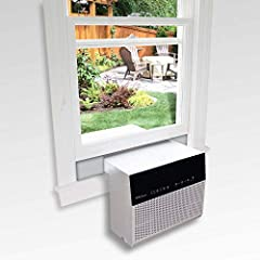 Simply slide the saddle air conditioner over the window sill for a safe installation without any tools required or risks of the air conditioner falling out of the window. The maximum window sill clearance this unit will fit in is 11 inches. Fits wind...