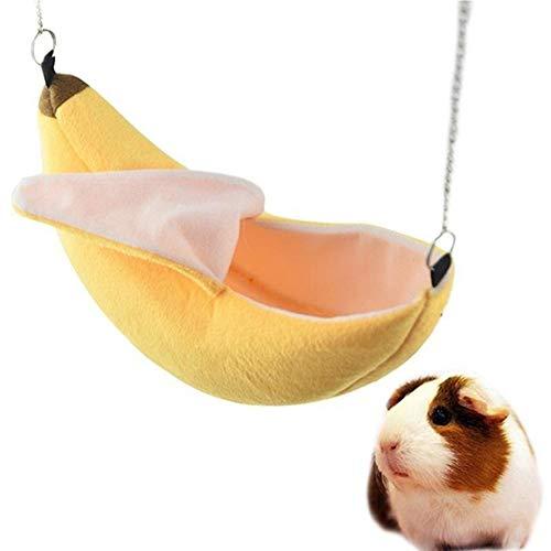 Urhause Hamster Hängematte Banane Hamster Bett Hängematte Haus Hängematte kleines Tier Haustier hängendes Schwingen-Bett-Haus für niedliche Haustiere, Ratte, Mäuse, Rennmäuse Amarillo 22 * 12 * 2CM