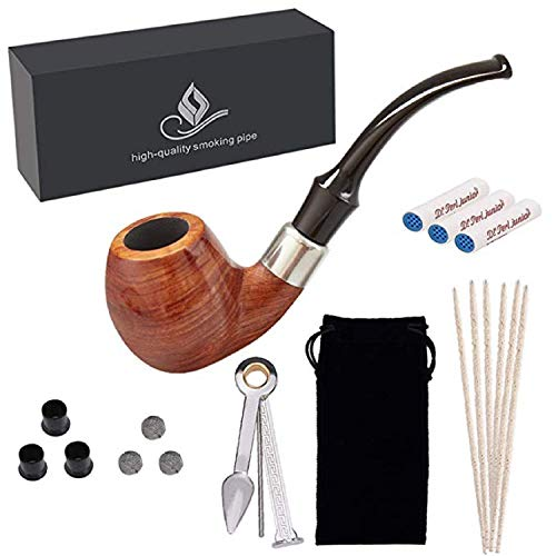 Yannabis Tobacco Pipes, Handmade Pear Wood Bent Smoking Pipe with Pipe Accessories, Pipe Cleaners, Pipe Filters, Pipe Scraper, Pipe Bits, Metal Balls, Pipe Pouch