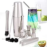 HALOVIE Cocktail Making Set Boston Shaker 11 pcs Bartender Kit Stainless Steel Bar Tool Set Drink Mixer Kits Home Cocktail Maker Gift Set