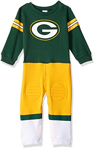 NFL Green Bay Packers Unisex-Baby Footysuit Coverall, Green, 18 Months