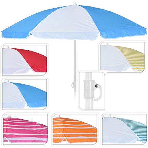 DRULINE Balkonschirm Sonnenschirm Strandschirm Schirm Marktschirm Gartenschirm Terrassenschirm Sommer Garten Sonne Weiße Streifen Sonnenschutz 156cm mit Farbauswahl Rot/Weiß