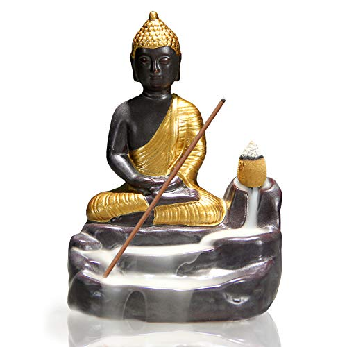 OWMMIZ Golden Buddha Backflow Incense Burner with 10 PCS Backflow Incense Cones, Waterfall Incense Holders Home Decor Gift Decorations Statue Ornaments
