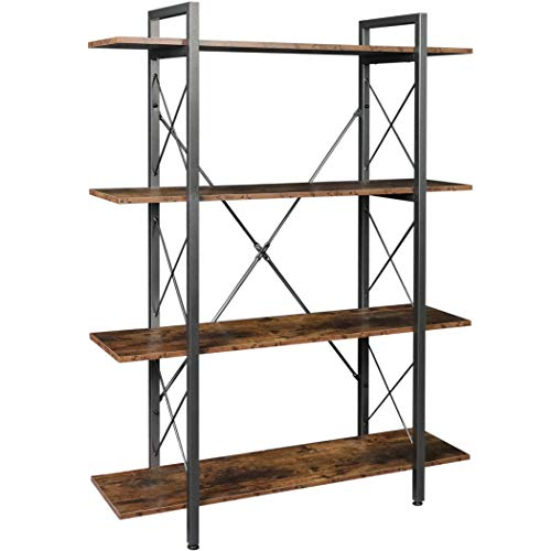 Lavievert 4-Tier Vintage Industrial Bookshelf Rustic Wood and Metal Bookcase Standing Display Rack and Storage Organizer for Home & Office