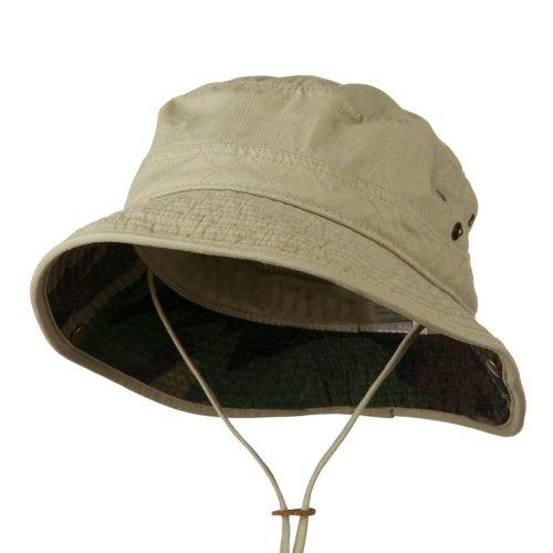 e4Hats.com Big Size Camouflaged Brim Cotton Washed Bucket Hat - Khaki 2XL-3XL