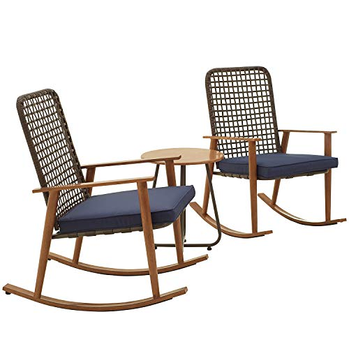 PatioFestival Patio Bistro Set Wood Grain Finish Outdoor Rocking Chairs with Coffee Table All Weather Frame Conversation Set (3Pcs, Blue)