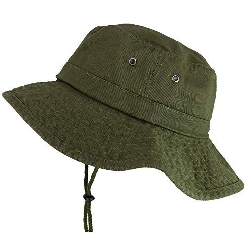 Stitchfy Large Brim Outdoor XXL Boonie Fisherman Hat with Adjustable Chin Strap - Olive - 2XL
