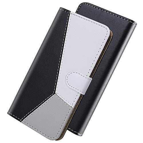 GIMTON Hülle für Huawei Enjoy 10S, Brieftasche Ledertasche mit Klappständer und Kartenfach, Multifunktion Kratzfestes Clamshell für Huawei Enjoy 10S, Schwarz