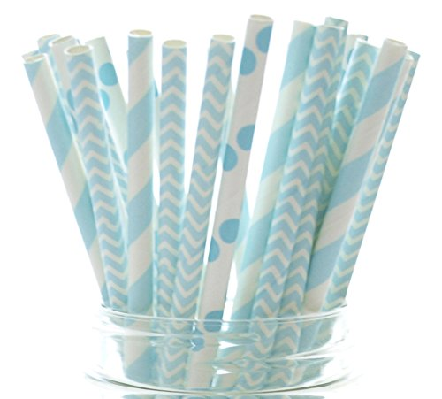 Blue Baby Shower Straws (50 Pack) - Baby Boy Paper Party Straws - Stripe, Polka Dot & Chevron Zig Zag Cake Pop Sticks, Frozen Winter Wedding Straw Supplies
