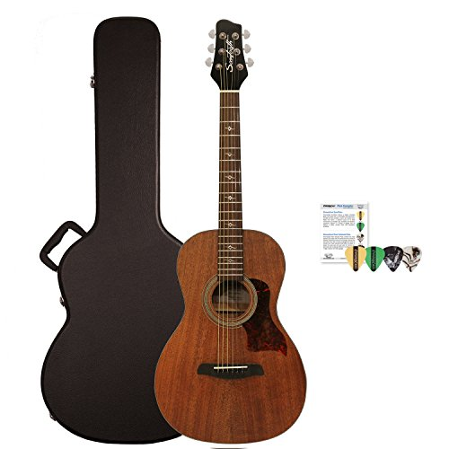 Sawtooth Mahogany Series Solid Mahogany Top Acoustic-Electric Parlor Guitar with Padded Gig Bag and Pick Sampler