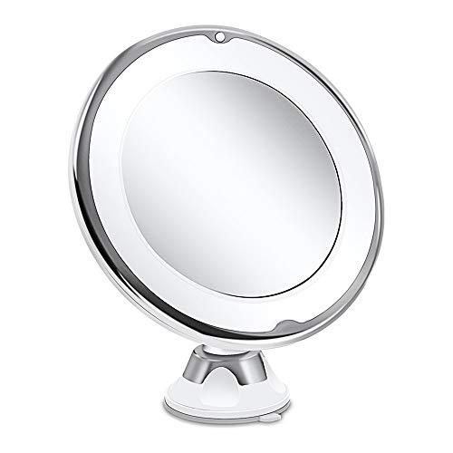 Dightyoho Specchio Ingranditore 10X Trucco Luce LED,Specchio Cosmetico Illuminato Ingradimento con Ventosa,Girevole 360° a Batteria,Bianco