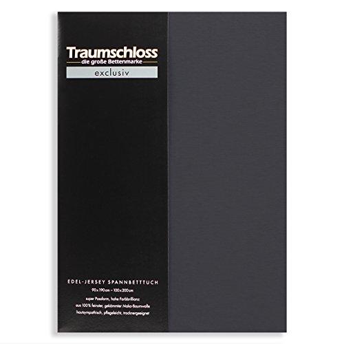 Traumschloss Edel-Jersey Spannbetttuch Exclusiv Größen, Farbe:anthrazit, Größe:180-200x200