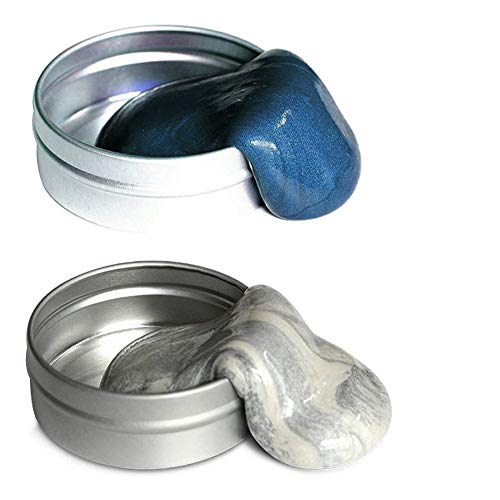 Arfun 2 Pack Magnetic Putty, Magnetic Slime Hand Therapy Putty Fidget Toy Stress Relief for Adults (Blue,Silver)