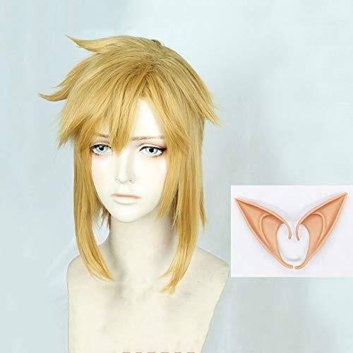 The Legend of Zelda: Breath of the Wild Link Short Golden Blonde Pony tail Pelo Cosplay Peluca de disfraz Fibra resistente al calor + Orejas