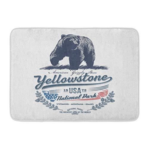 LnimioAOX Paillassons Tapis de Bain extérieur/intérieur Tapis de Porte Idaho Grizzly Bear National Park Yellowstone Bleu Couleur Montana Wyoming Salle de Bain Decor Tapis Tapis de Bain