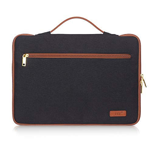 FYY 14-15.6' Laptop Sleeve Case Cover Bag for 15' MacBook Pro 2018 2017 2016, Ultrabook Notebook Carrying Case Bag for 14'-15.6' ASUS Acer Lenovo Dell HP Toshiba Chromebook Canvas Black